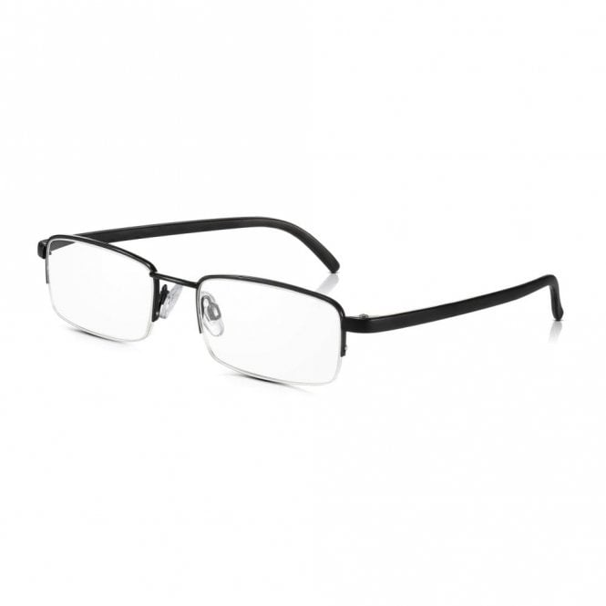 Read Optics Clear Half Rim Glasses: Black Mens / Womens Metal Framed Reading Spectacles