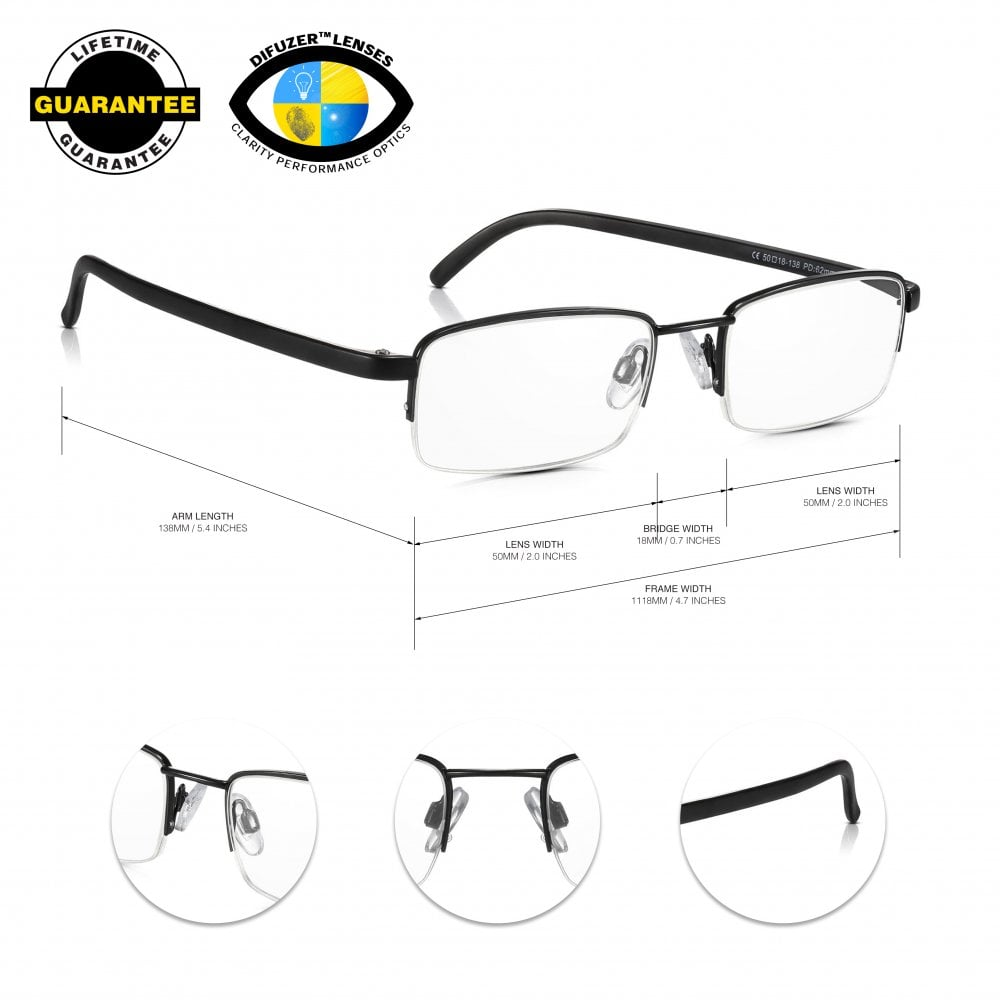cca2a4259f3 Mens And Womens Black Half Frame Rectangle Reading Glass