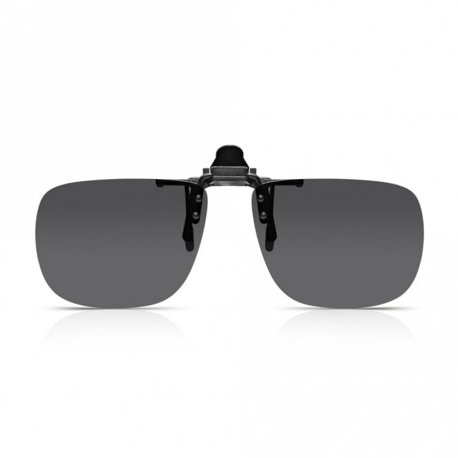 Read Optics Clip-On Sunglasses: Flip-Up / Down Polarised Mens & Womens Grey UV Sun Lenses