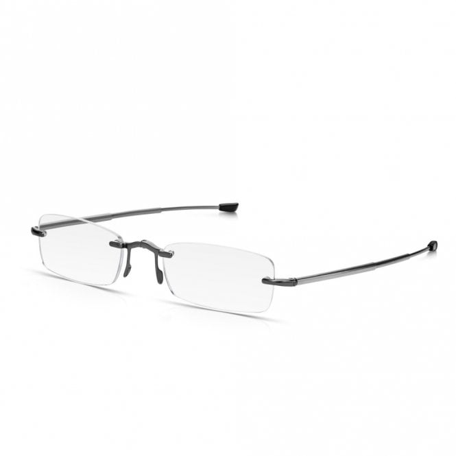 Read Optics Compact Folding Reading Glasses, Rimless Rectangular Optical Quality Lenses