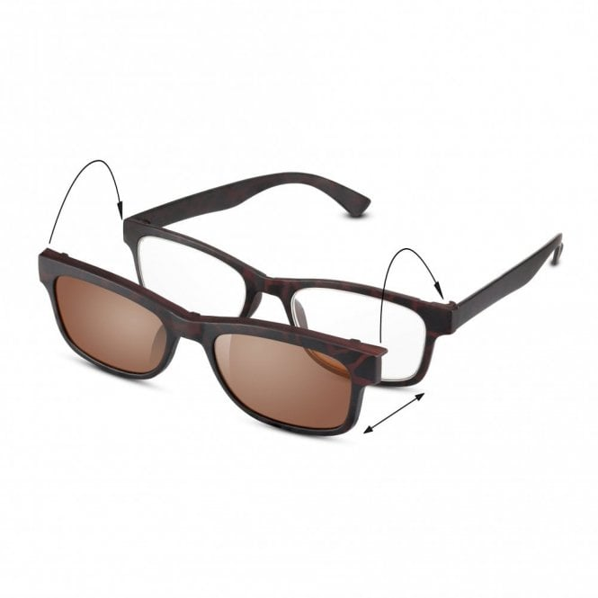 Read Optics Mens and Womens 2-in-1 Matt Dark Brown Tortoiseshell Rectangle Reading Glass with Clip-On Tinted UV Lens