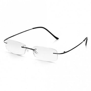 Mens and Womens Black Memory-Flex Stainless Steel Rimless Rectangle Reading Glass