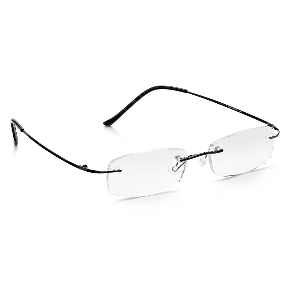 e9e5836125c Read Optics Mens and Womens Black Memory-Flex Stainless Steel Rimless  Rectangle Reading Glass