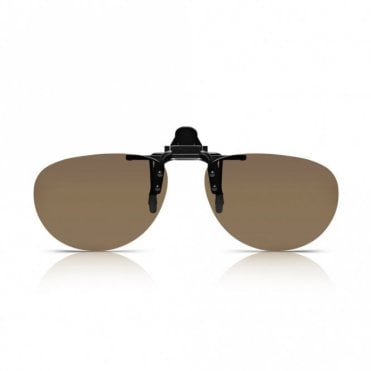Mens and Womens Brown Polarized Oval Clip-On Lens