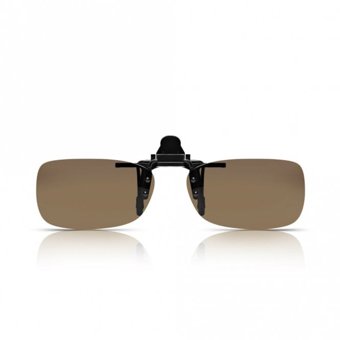 Read Optics Mens and Womens Brown Polarized Rectangle Clip-On Lens