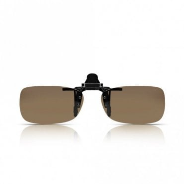 Mens and Womens Brown Polarized Rectangle Clip-On Lens