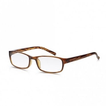 Mens and Womens Brown Wood Grain Full Frame Rectangle Reading Glass