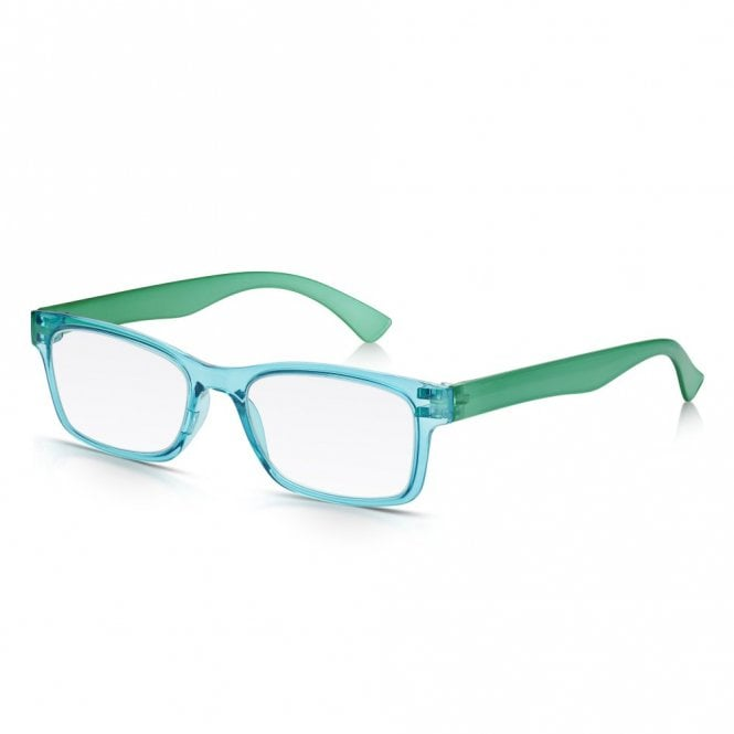 Read Optics Mens and Womens Crystal Blue and Green Super Light Rectangle Reading Glass