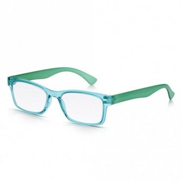 Mens and Womens Crystal Blue and Green Super Light Rectangle Reading Glass