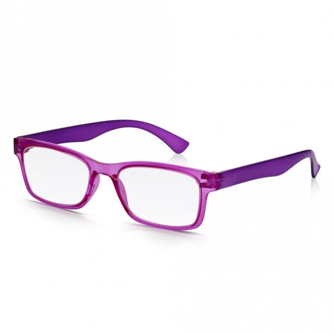 Read Optics Mens and Womens Crystal Pink and Purple Super Light Rectangle Reading Glass