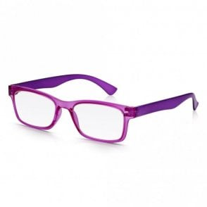 Mens and Womens Crystal Pink and Purple Super Light Rectangle Reading Glass