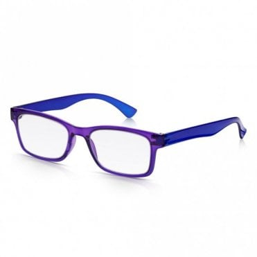 Mens and Womens Crystal Purple and Blue Super Light Rectangle Reading Glass