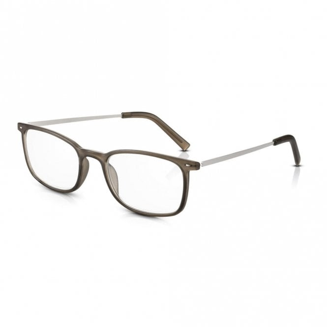 Read Optics Mens and Womens Frosted Dark Grey Plastic & Metal Combo Rectangle Reading Glass