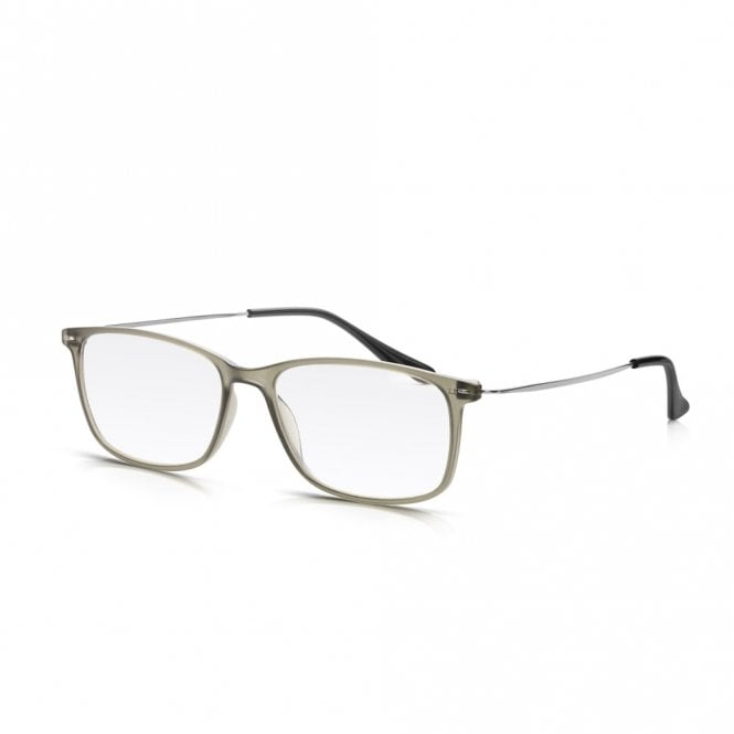 Read Optics Mens and Womens Frosted Grey Plastic & Metal Combo Super Light Square Reading Glass