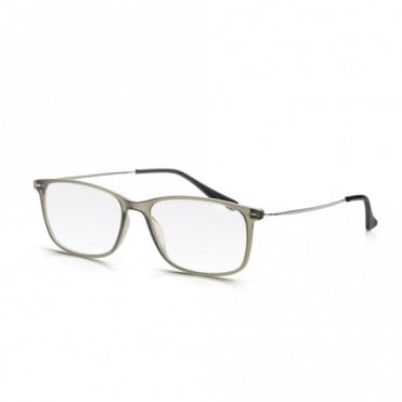 Mens and Womens Frosted Grey Plastic & Metal Combo Super Light Square Reading Glass