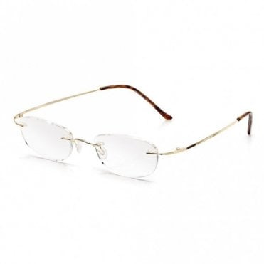 Mens and Womens Gold Memory-Flex Rounded Square Reading Glass