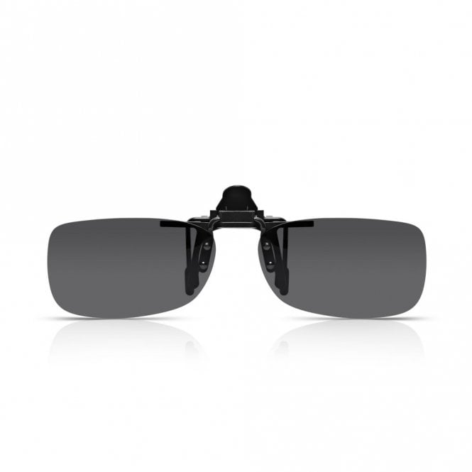 Read Optics Mens and Womens Grey Smoke Polarized Rectangle Clip-On Lens