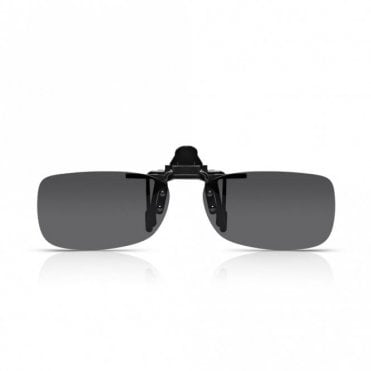 Mens and Womens Grey Smoke Polarized Rectangle Clip-On Lens