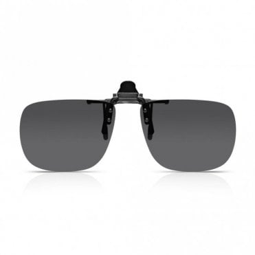 Mens and Womens Grey Smoke Polarized Square Clip-On Lens