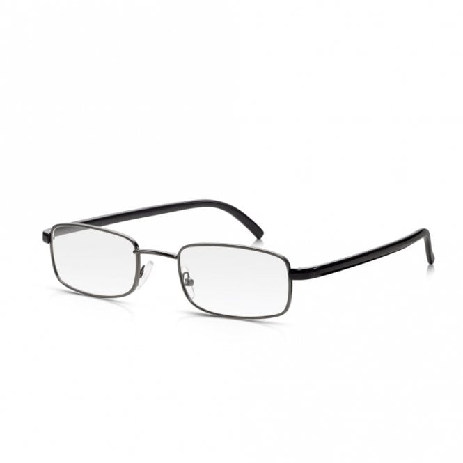 Read Optics Mens and Womens Gunmetal and Black Full Frame Rectangle Reading Glass
