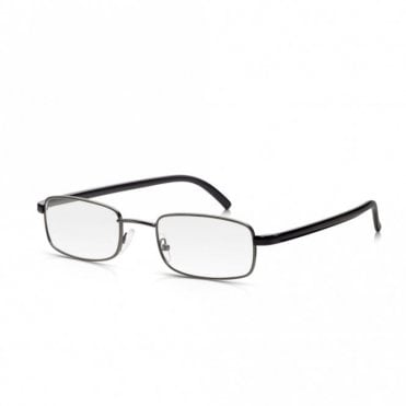 Mens and Womens Gunmetal and Black Full Frame Rectangle Reading Glass