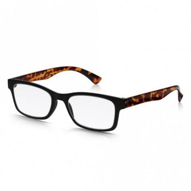 Mens and Womens Matt Black and Crystal Brown Tortoiseshell Super Light Rectangle Reading Glass