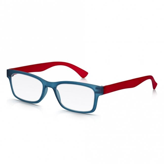 Read Optics Mens and Womens Matt Blue Crystal and Red Super Light Rectangle Reading Glass