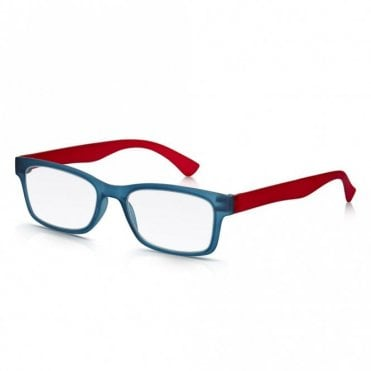 Mens and Womens Matt Blue Crystal and Red Super Light Rectangle Reading Glass