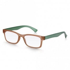 Mens and Womens Matt Crystal Brown and Green Super Light Rectangle Reading Glass