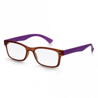 Mens and Womens Matt Crystal Brown and Purple Super Light Rectangle Reading Glass