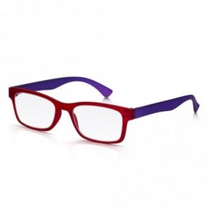 Mens and Womens Matt Crystal Red and Purple Super Light Rectangle Reading Glass