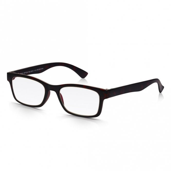 Read Optics Mens and Womens Matt Dark Brown Tortoiseshell Super Light Rectangle Reading Glass
