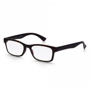 Mens and Womens Matt Dark Brown Tortoiseshell Super Light Rectangle Reading Glass