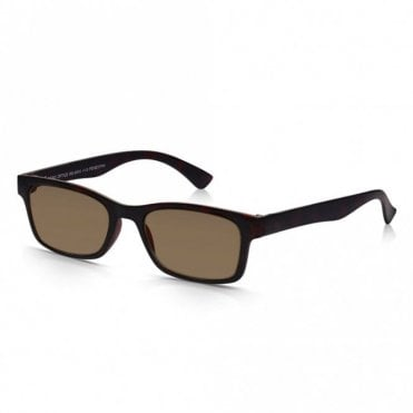 Mens and Womens Matt Dark Brown Tortoiseshell Super Light Rectangle Sun Readers