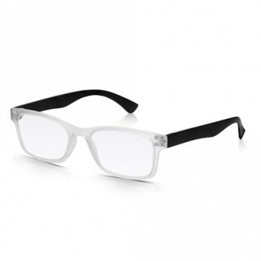 Mens and Womens Matt Frosted Crystal and Black Super Light Rectangle Reading Glass