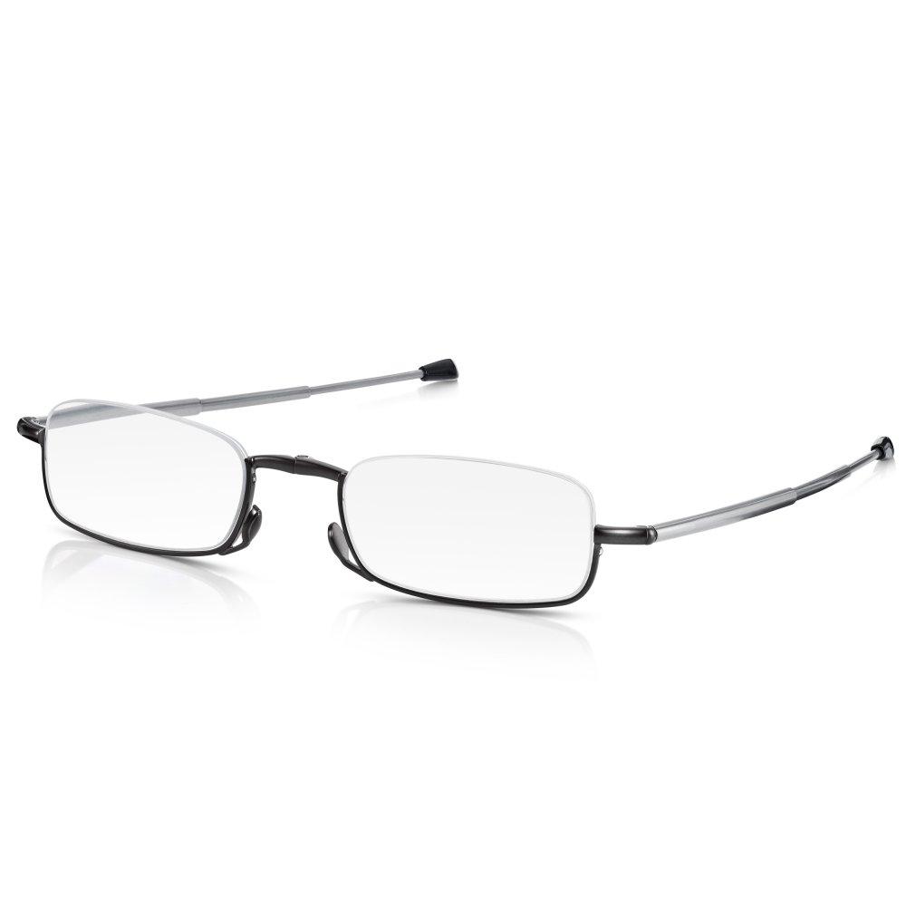56635ccd3b Read Optics Mens and Womens Matt Gunmetal Folding Compact Half Frame  Rectangle Reading Glass