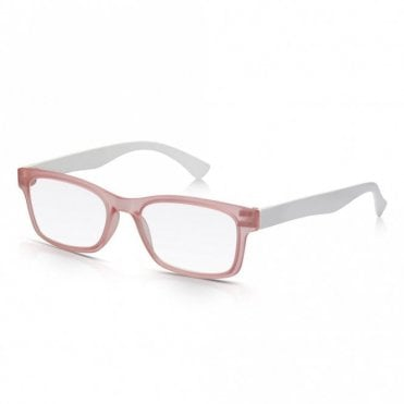Mens and Womens Matt Pink Crystal and White Super Light Rectangle Reading Glass