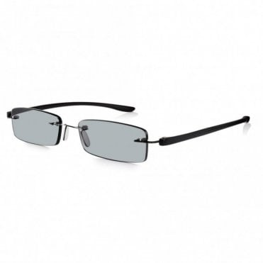 Mens and Womens Patented Black Rimless Rectangle Sun Reading Glass