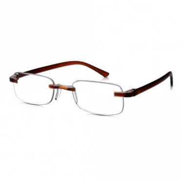 Mens and Womens Patented Brown Crystal Rimless Rectangle Reading Glass