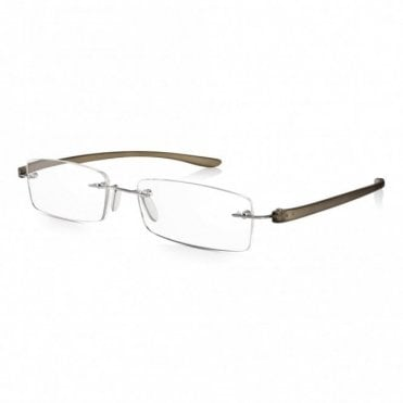Mens and Womens Patented Grey Crystal Rimless Rectangle Reading Glass
