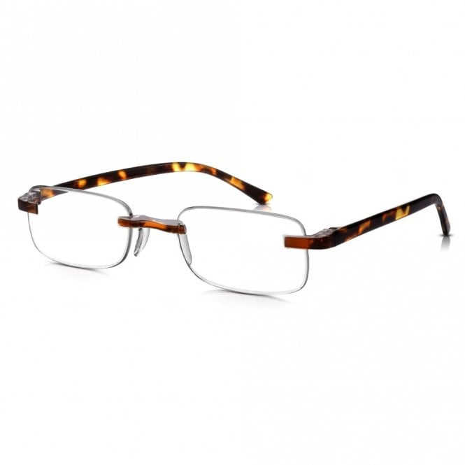 Read Optics Mens and Womens Patented Tortoiseshell Rimless Rectangle Reading Glass