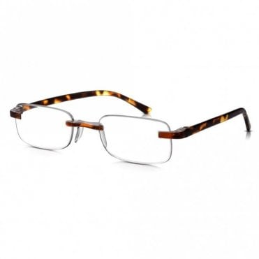 Mens and Womens Patented Tortoiseshell Rimless Rectangle Reading Glass