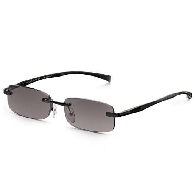 Read Optics Mens Black Sun Reader Alloy-Tech Rimless Rectangle Reading Glass