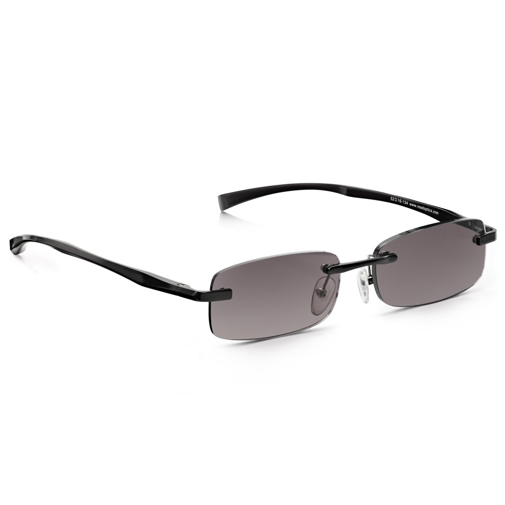 Rimless Rectangle Glasses : Buy Read Optics Mens Black Sun Reader Alloy-Tech Rimless ...