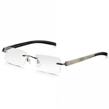 Mens Gunmetal Flat Stainless Steel Rimless Rectangle Reading Glass