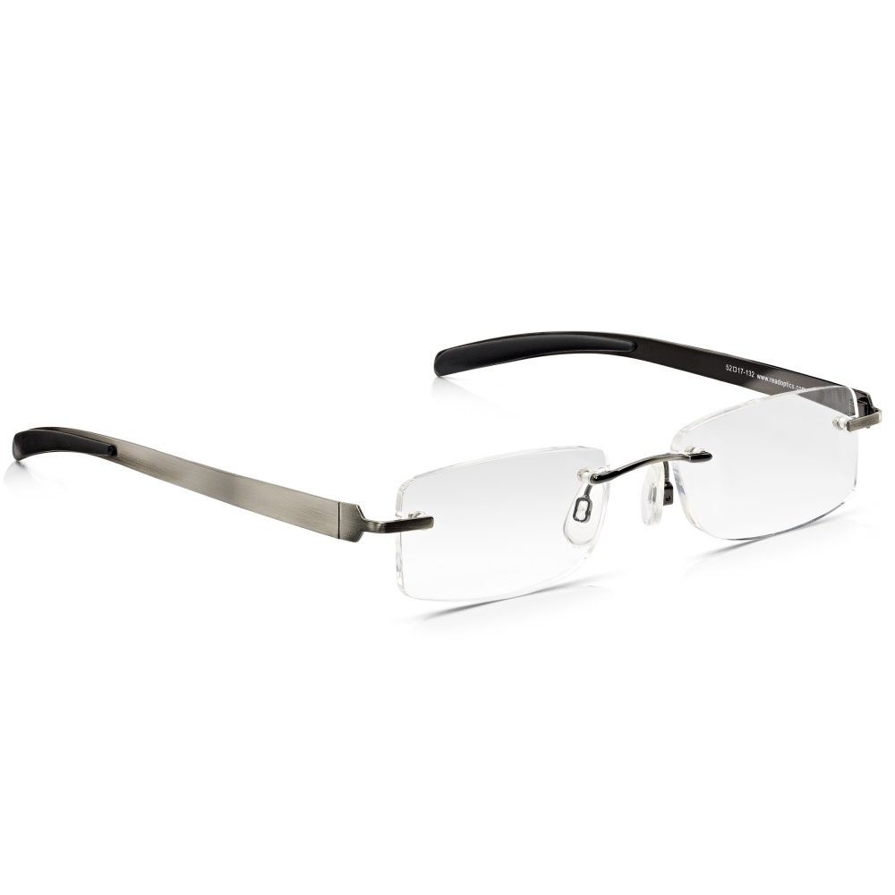 7a07d2d82ef Read Optics Mens Gunmetal Flat Stainless Steel Rimless Rectangle Reading  Glass