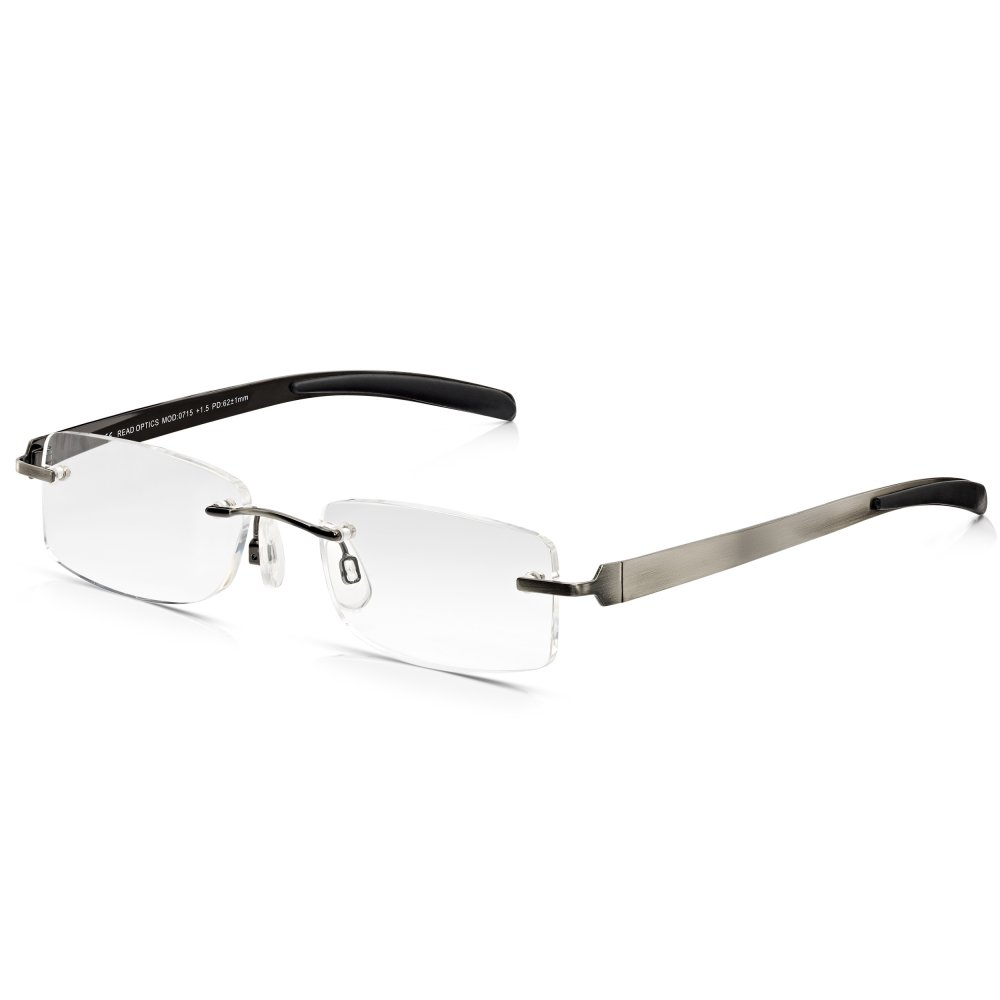 Rimless Rectangle Glasses : Buy Read Optics Mens Gunmetal Flat Stainless Steel Rimless ...