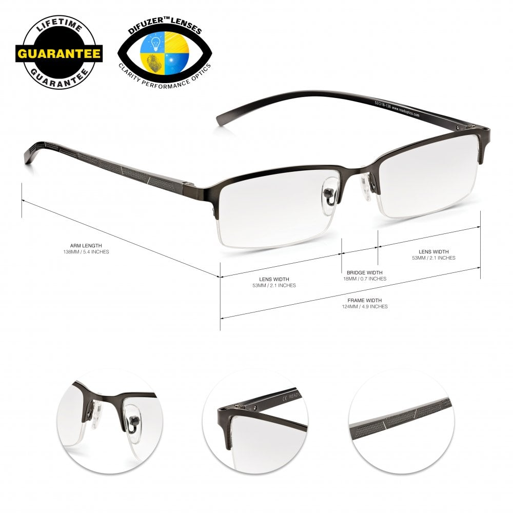 751d8741cf7 Read Optics Mens Half Frame Reading Glasses with Spring Hinges  Stylish Clear  Lens Readers
