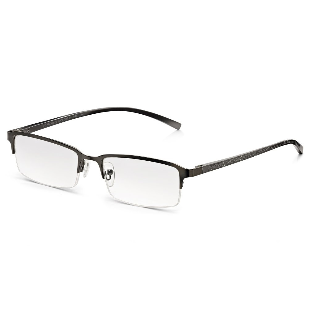 06020d2e14 Read Optics Mens Half Frame Reading Glasses with Spring Hinges  Stylish  Clear Lens Readers