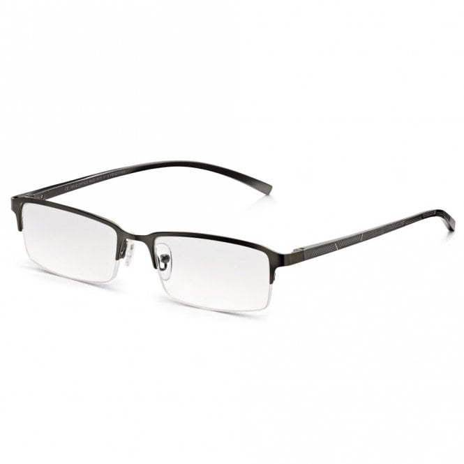 Read Optics Mens Oxidised Silver Chrome Alloy-Tech Supra Half Frame Rectangle Reading Glass